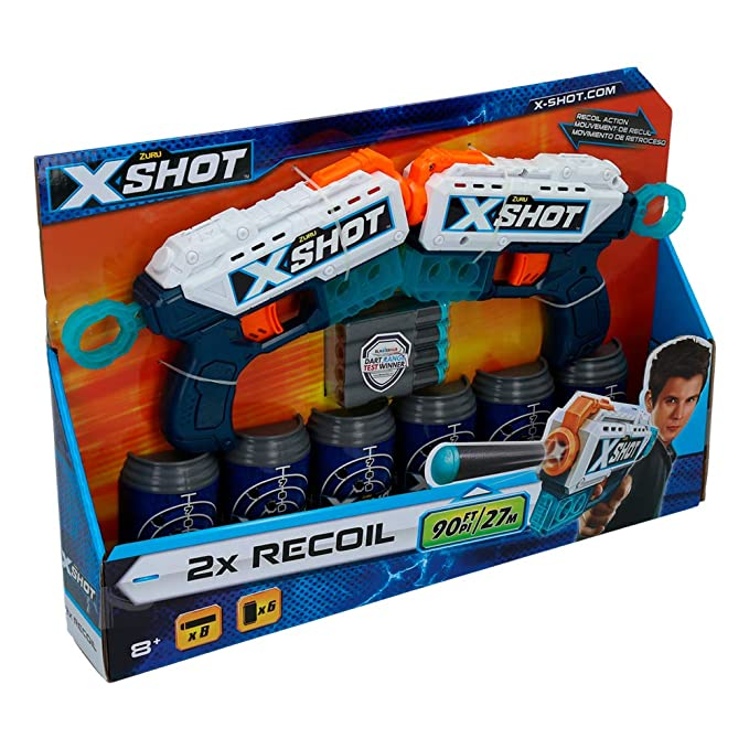 X-Shot- Pack 2 Pistolas Recoil 6 Botes (ColorBaby 44769)