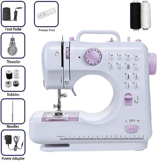 ISKM Máquina de coser + 2 hilos de coser gratis 12 programas de ...