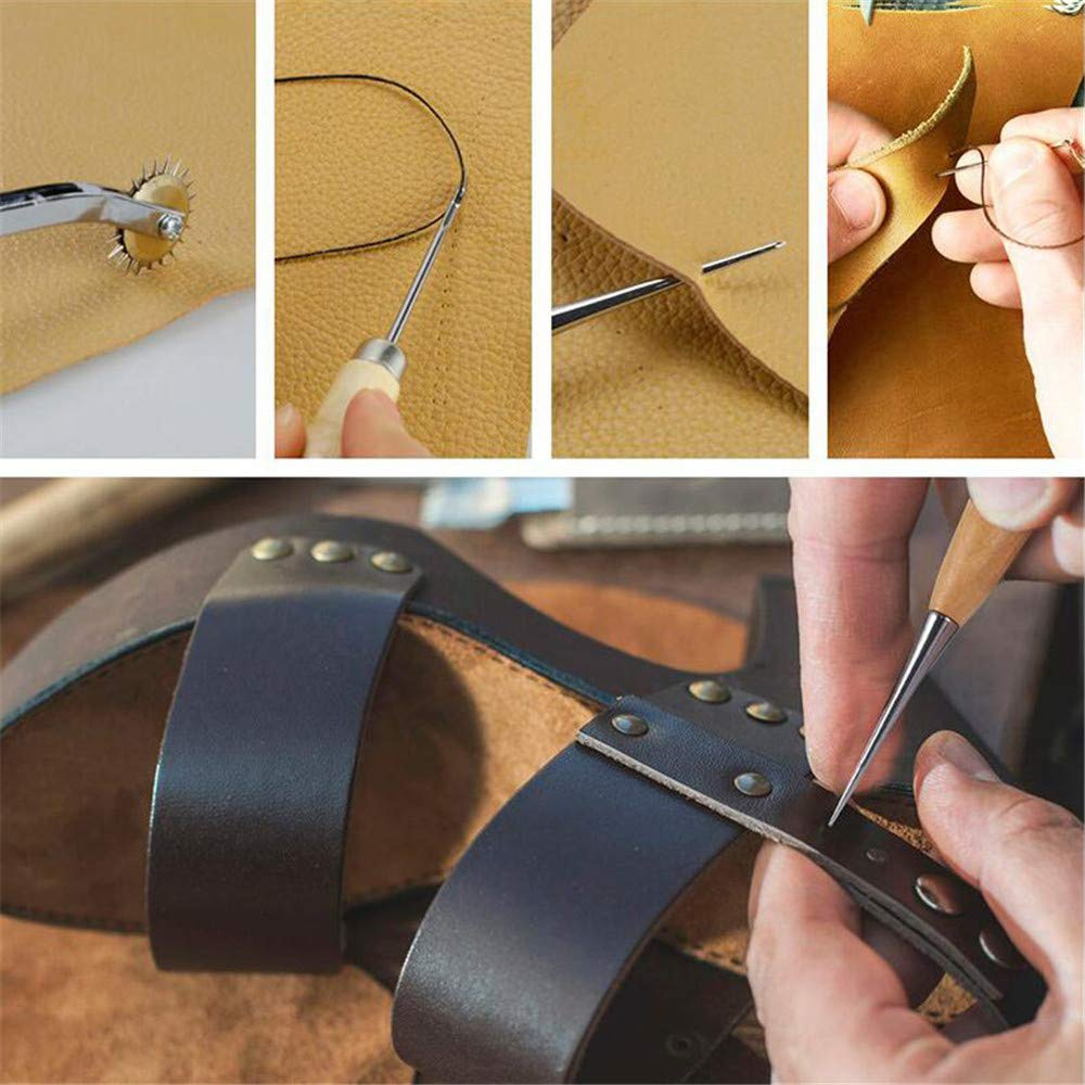366 Pieces Leather Craft Tools Leather Craft Stamping Tools with Cutting Mat Tools Rivets Kits and Needles Snaps for Leather Making