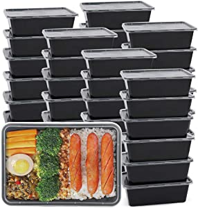 Meal Prep Containers [50 Pack] Plastic Bento Box Reusable Lunch Box with Lids, Disposable Food Storage Containers BPA Free Plastic, Stackable, Dishwasher, Microwave, Freezer Safe (Black, 750ML/26 OZ)