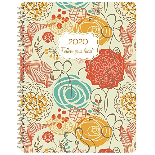 """2020 Planner - 2020 Weekly Planner with Flexible Cover, Jan. 2020 - Dec. 2020, 8.5"""" x 11"""", Strong Twin - Wire Binding, Round Corner, Get Organized"""