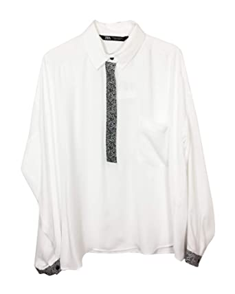 5e603d91986deb Zara Women Shirt with Animal Print Placket 1165/052 (X-Small) White