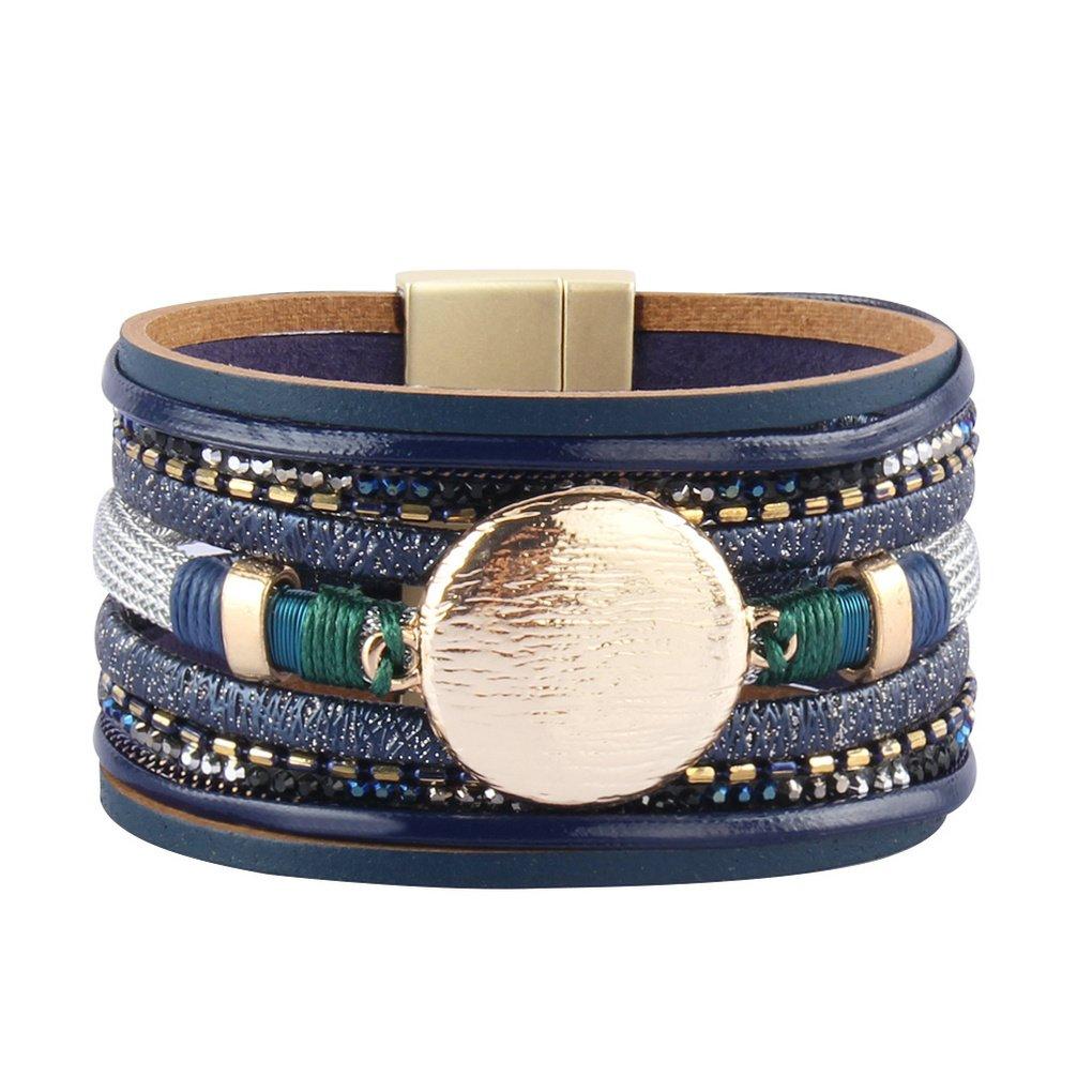 Bfiyi Leather Bracelet Handmade Jewelry Lucky Charm Rhinestone Friendship Bracelet for Women,girls,kids