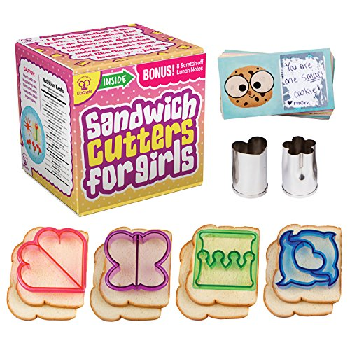 UpChefs Sandwich Cutters for Girls - Create Healthy School Lunches in Minutes with These Fun Bento Lunch box Accessories – Includes Fruit and Vegetable cookie cutters for kids Plus Fun Scratch Notes by UpChefs