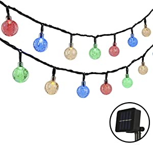 Woohaha 2 Pack Solar String Lights, 21ft 30 LED Solar Globe String Lights Outdoor Waterproof 8 Modes Crystal Ball String Lights for Yard Patio Garden Wedding Pergola Gazebo Bistro Party(Multicolor)