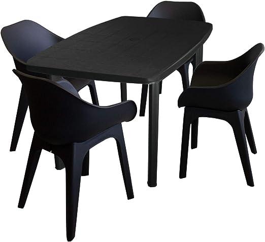 Conjunto de muebles de jardín desconocidos, mesa de jardín, plástico, antracita, 101 x 68 cm + 4 sillas de jardín Ghibli, sillas de plástico para bistrostuhl balcones, muebles de terraza, antracita: Amazon.es: Jardín