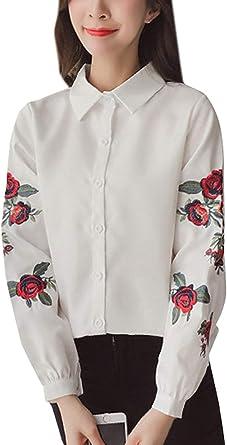 Bordado De La Solapa del Otoño De Las Rose Tops Bordado Casuales Mujeres De Manga Larga Camisas Tops Locker Blusa Tops Camisas: Amazon.es: Ropa y accesorios