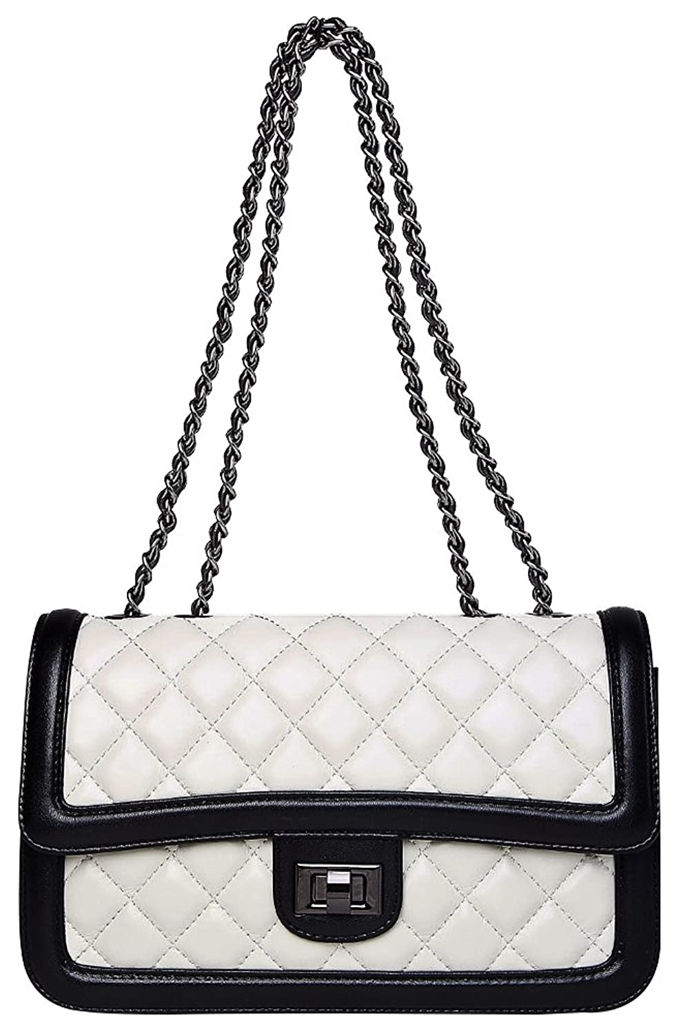 Zoppen Women's Sheep Leather Black-White Quilted Shoulder Bag