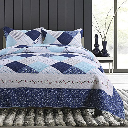 NEWLAKE Cotton Bedspread Quilt Sets-Reversible Patchwork Coverlet Set, Geometric Country Style Pattern, Queen Size by NEWLAKE (Image #1)