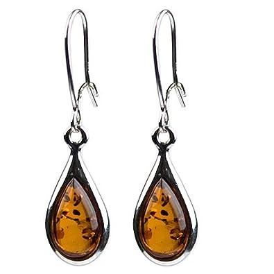 Baltic Honey Amber Sterling Silver Small Tear Drop Earrings zBMVSlGI4