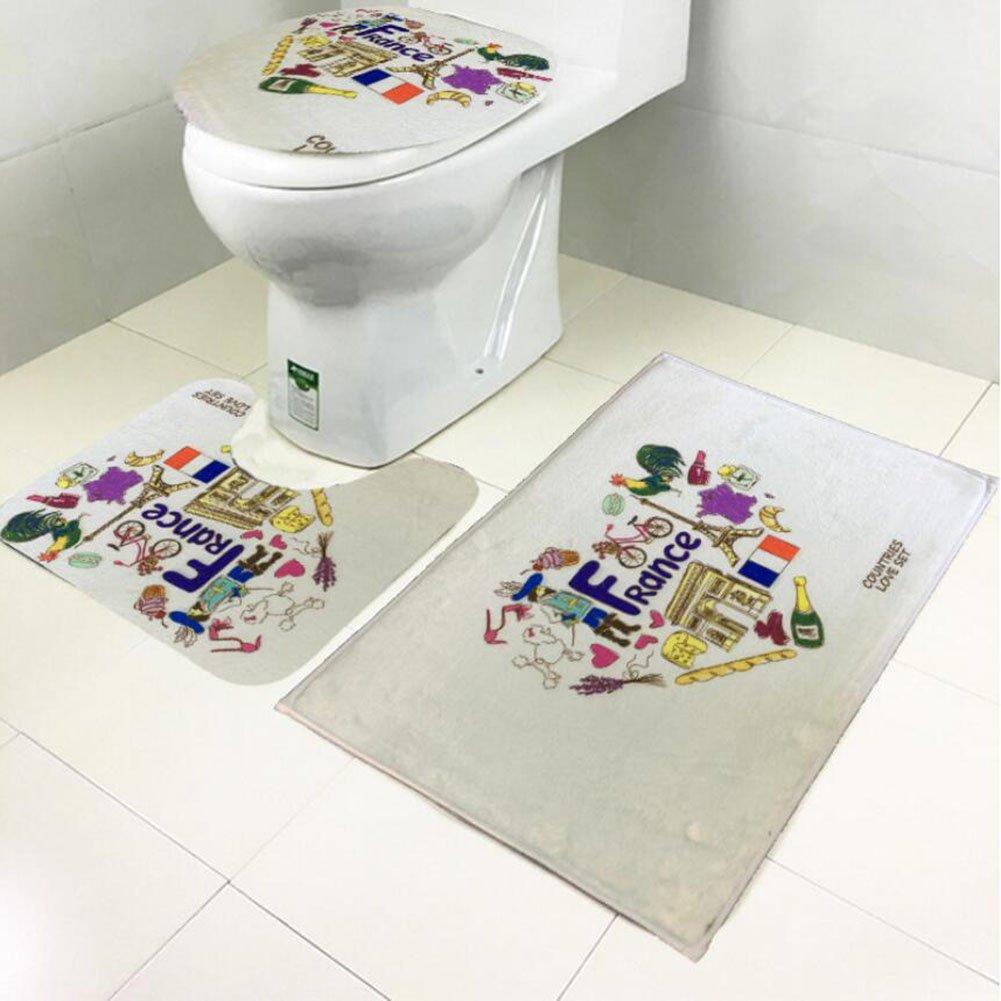Non Slip 3 Piece Bathroom Mat Sets , Pedestal Rug + Lid Toilet Cover + Bath Mat Set Flannel Anti-slip Mat Bathroom Decoration ( Color : A )