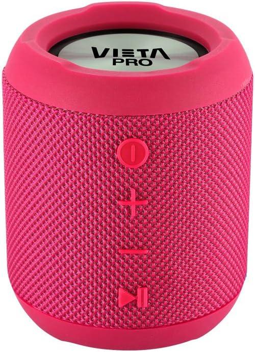 Vieta Pro Handy - Altavoz inalámbrico portátil con Bluetooth, radio FM, Función Voice Call, Reproductor USB, lector de tarjeta SD incorporado, resistente al agua, Función Dual Pair y color rosa.