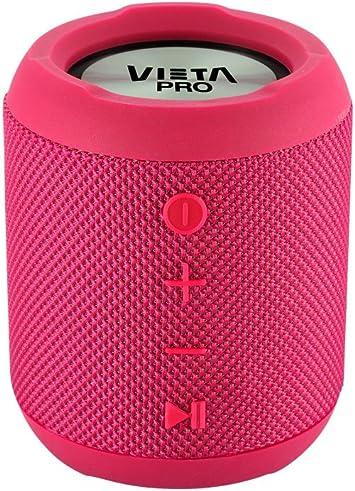 Oferta amazon: Vieta Pro Handy - Altavoz inalámbrico portátil con Bluetooth, radio FM, Función Voice Call, Reproductor USB, lector de tarjeta SD incorporado, resistente al agua, Función Dual Pair y color rosa.
