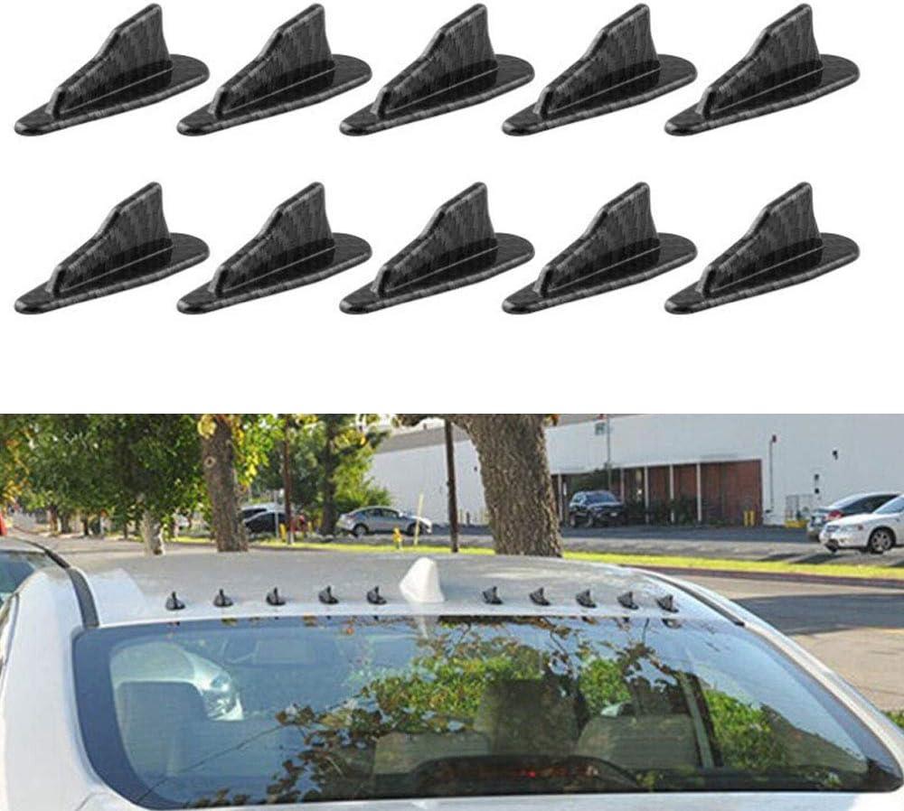Universal 10 St/ück Auto Dach Shark Flossen Spoiler Fl/ügel Kit Dach Dekorative Antenne Kohlefaser