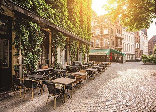 Leowefowa 7X5FT Cityscape Backdrop Street Green Vine Cafe Terrace Morning Antwerpen City Belgium Travel Vinyl Photography Background Kids Adults Photo Studio Props
