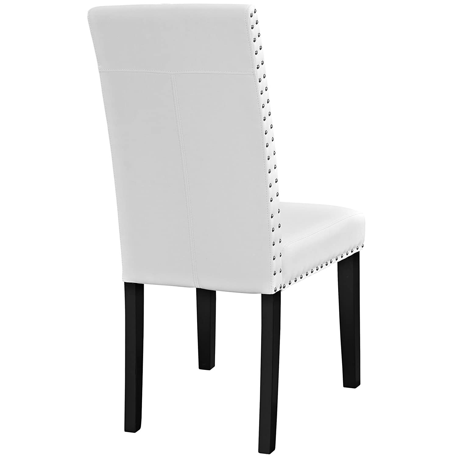 Ordinaire Amazon.com   Modway Parcel Modern Upholstered Vinyl Parsons Dining Chair  With Polished Nailhead Trim And Wood Legs In White   Chairs