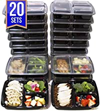 [20 Pack] 3 Compartment Meal Prep Containers BPA Free Portion Control