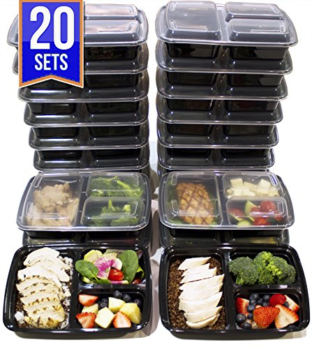 [20 Pack] 3 Compartment Meal Prep Containers BPA Free Portion Control Bento Boxes (39 - Bento Fridge Box