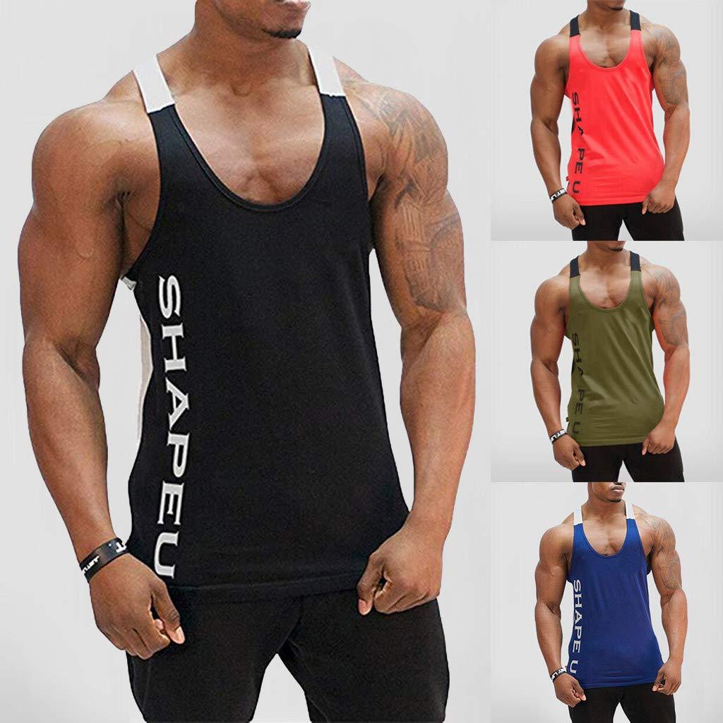 Homebaby Canotte Sportivo Uomo Bodybuilding Palestra Yoga Quick-Drying T-Shirt Gilet Casual Senza Maniche Crop Tank Top in Cotone Canottiere Aderenti Intima Camicetta Estive