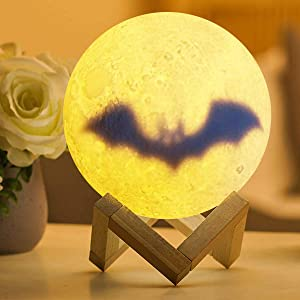 Moon Lamp Moon Light, 3D Printing Galaxy Lamp with Stand & Remote &Touch Control Star Night Light Gift for Women Kids Lover (Bat)