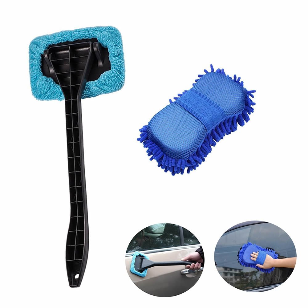 GOOTRADES Windshield Clean Car Glass Cleaner Wiper & Sponge Brush