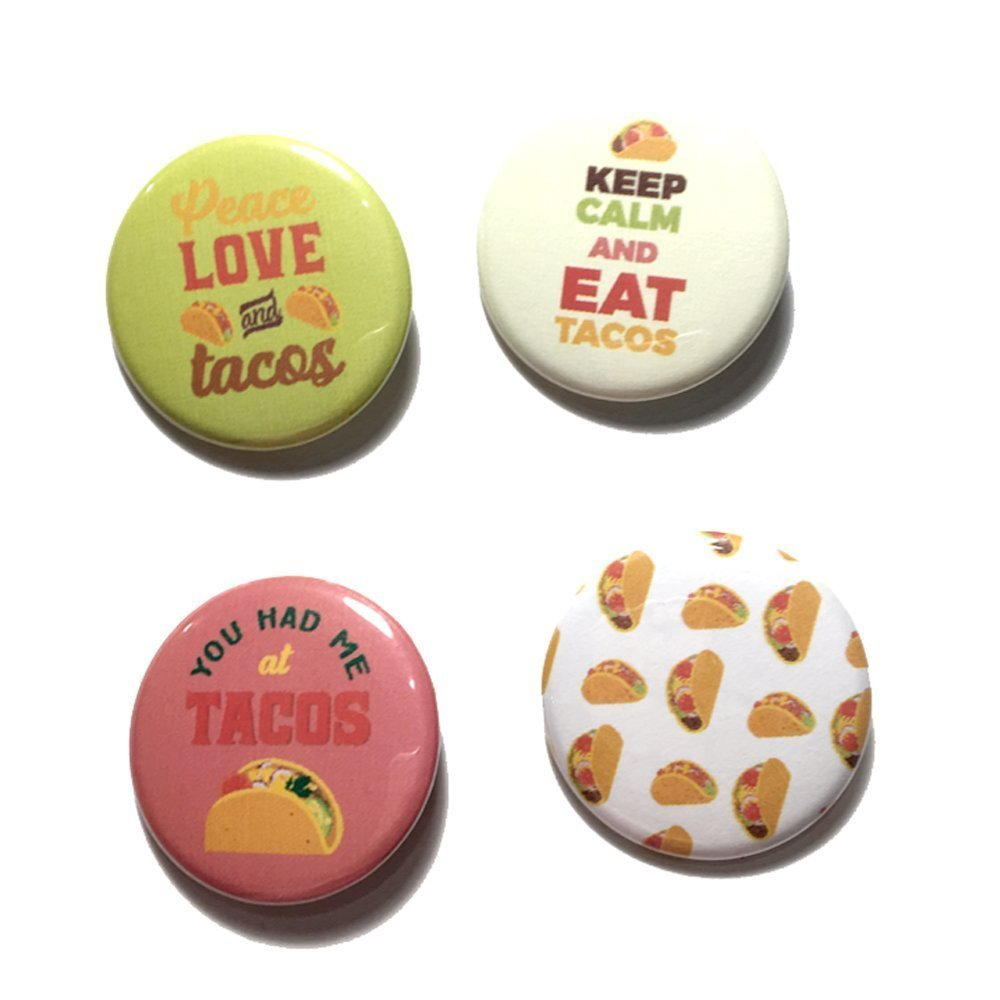 12 pcs set Taco Fiesta theme pinback DIAMETER 1.5'' or 2.25'' buttons for birthday baby shower party favors collectible flair pin