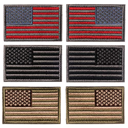 - Calculs Regular and Reverse American Flag Tactical Bag Accessories Patches 3 Pairs Opposite Hook Loop 2x3 inches - 6 Pcs