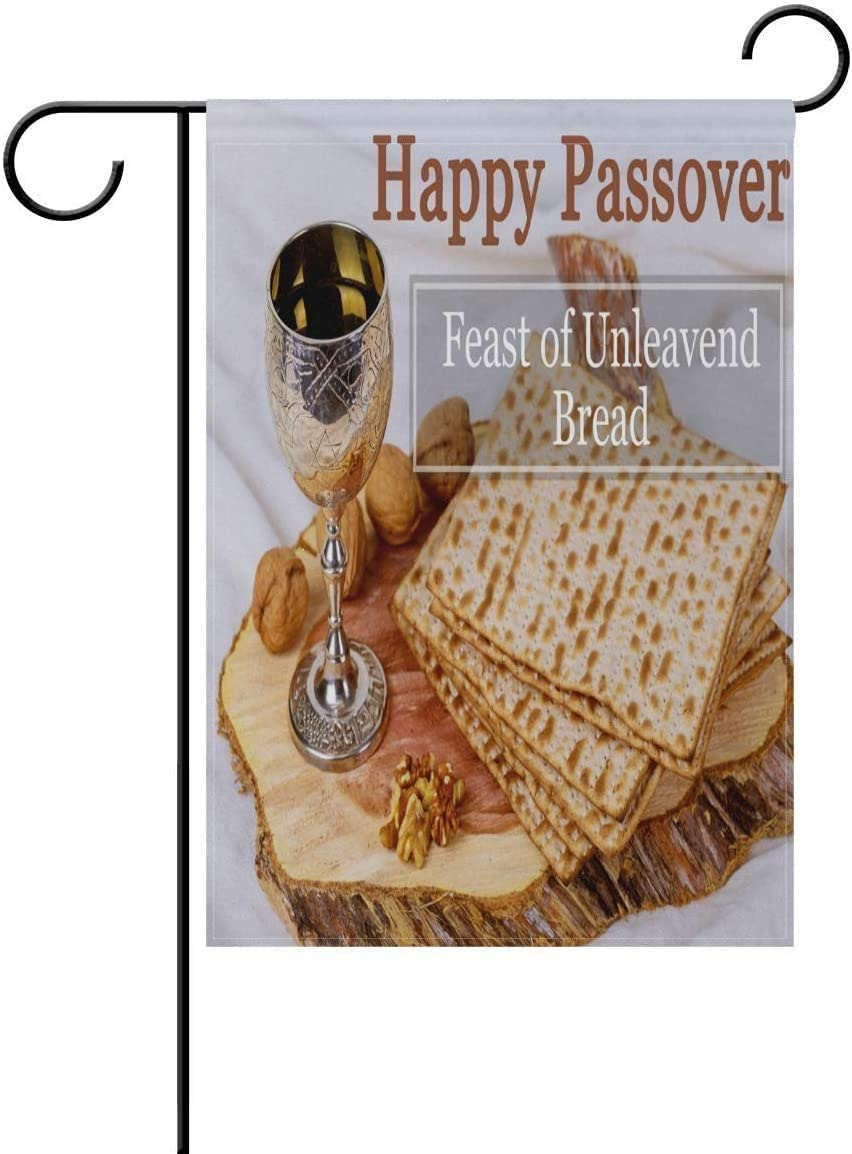 Happy Passover Feast of Unleavend Bread Garden Flag Double Sided Polyester Yard Flag for Home House Outdoor Decoration 12x18 Inch