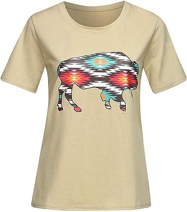 MEIbax Camisetas Mujer Manga Corta Impresión Verano Blusa Mujer Sport Tops Mujer Verano Camisetas Escote Mujer Camisetas Caqui Mujer Camiseta Corta Mujer Top: Amazon.es: Ropa y accesorios
