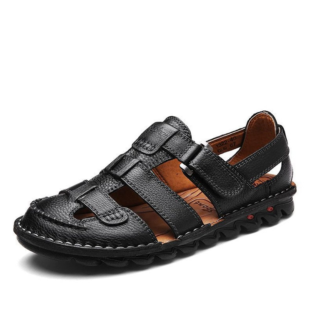 DULUNKE Verano De Los Hombres Antideslizantes Ocio Corium Beach Shoes Outdoor Baotou Sandals,Black,UK/EU42 UK/EU42|Black