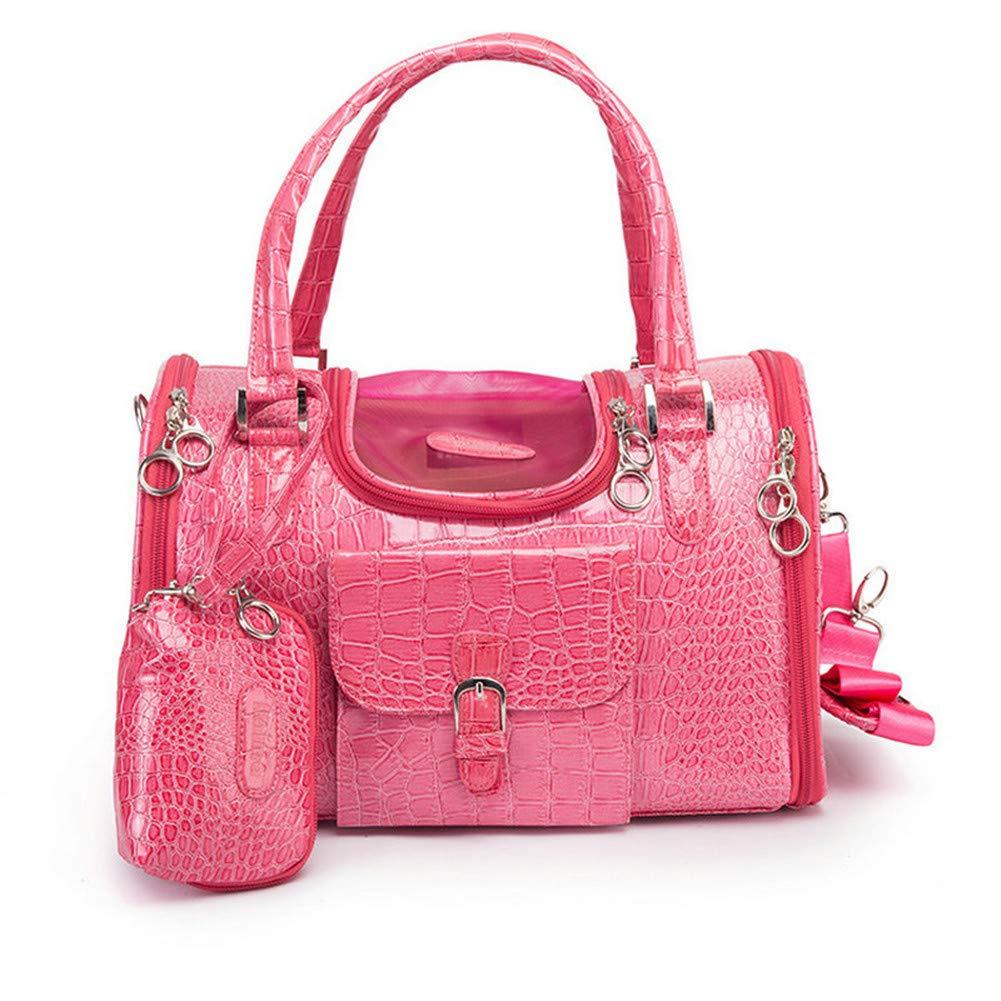 Dog Carrier PU Leather Dog Handbag Dog Purse Cat Tote Bag Pet Cat Dog Hiking Bag Travel Bag.fits Under 5 pounds(S, Pink)