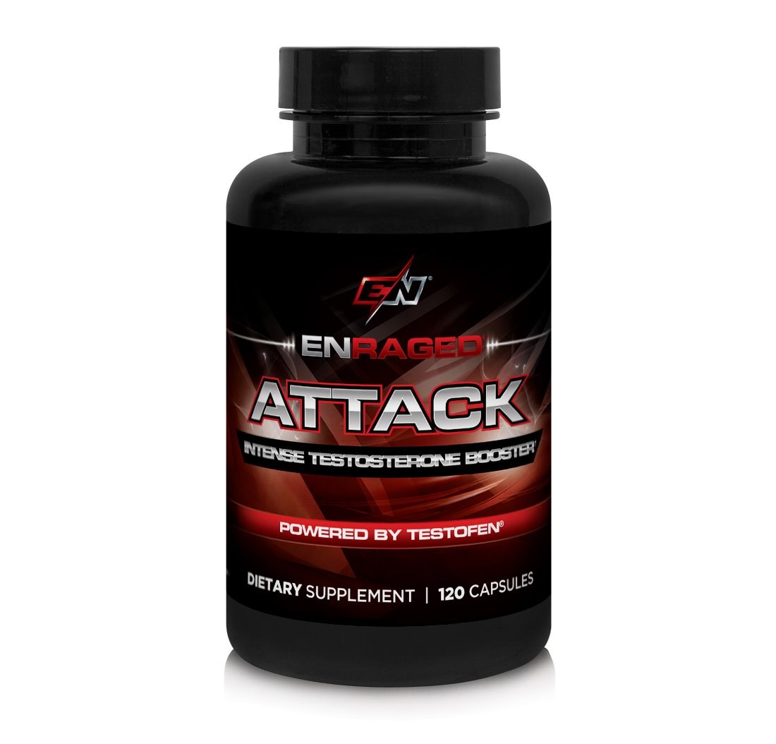 Enraged Nutrition Attack Intense Testosterone Booster Powered by Testofen | Men's Testosterone Supplement | Muscle Support and Fat Burn, 120 Capsules