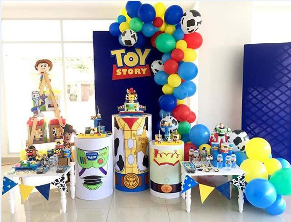 100 Pack Toy Inspired Story Party Birthday Balloons Arch Garland, 12 Inch Kuh Pattern Printed Balloons Yellow rot Blue Green Latex Balloons für Kids Birthday 1St 3Rd 6Th Baby Shower Decorations