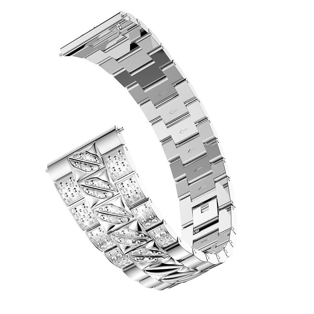 for Samsung Galaxy wtach Bands,Replacement Luxury Metal Crystal Watchbands Adjustable Bracelet Wristband Strap Wrist Band for Samsung Galaxy Watch (46mm) Mens Womens (Sliver)