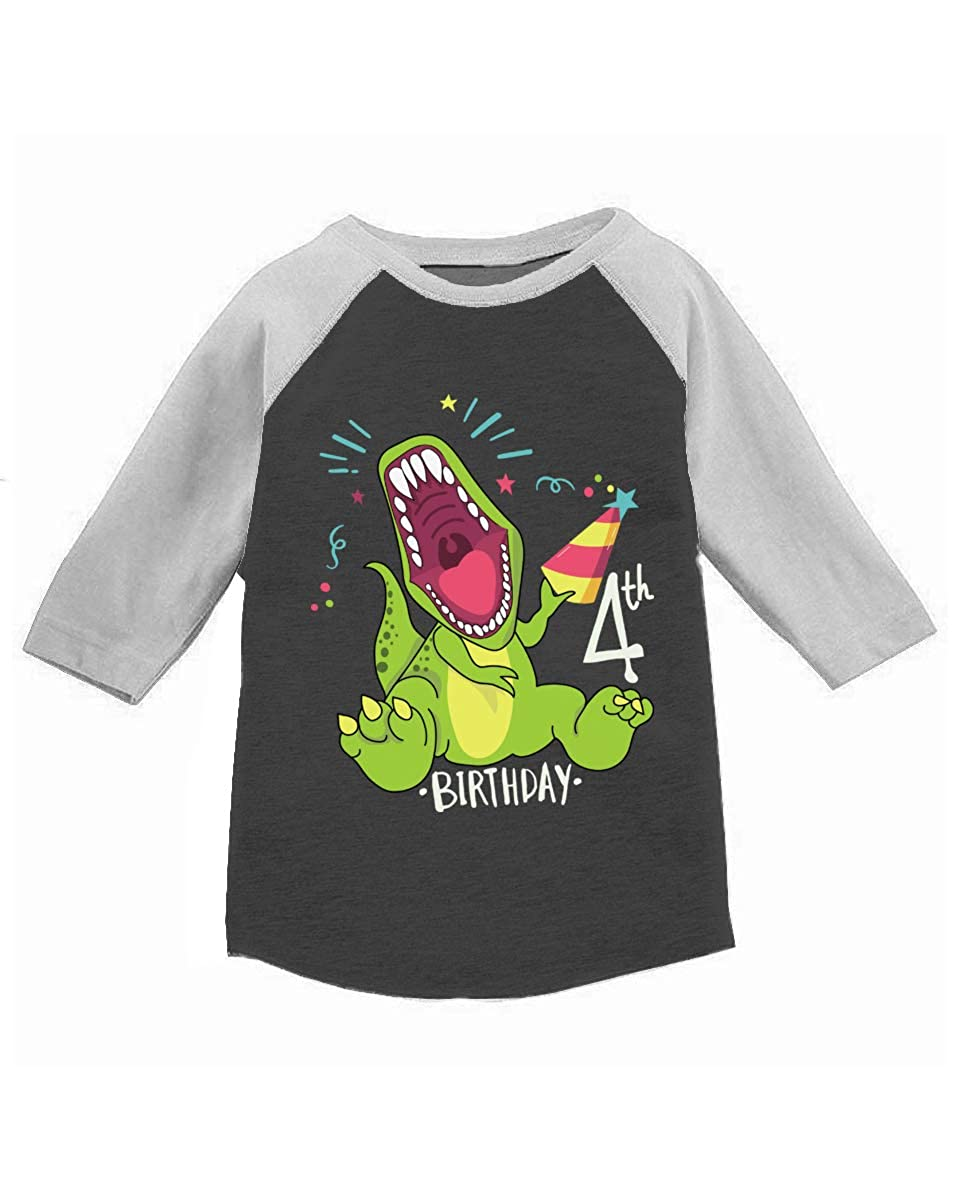 Awkward Styles 4th Dinosaur Birthday Toddler Raglan 4th Birthday Party Shirt