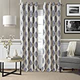 Elrene Home Fashions Room Darkening Grommet Linen Single Panel Window Curtain Drape, 52″x95″ (1, Navy