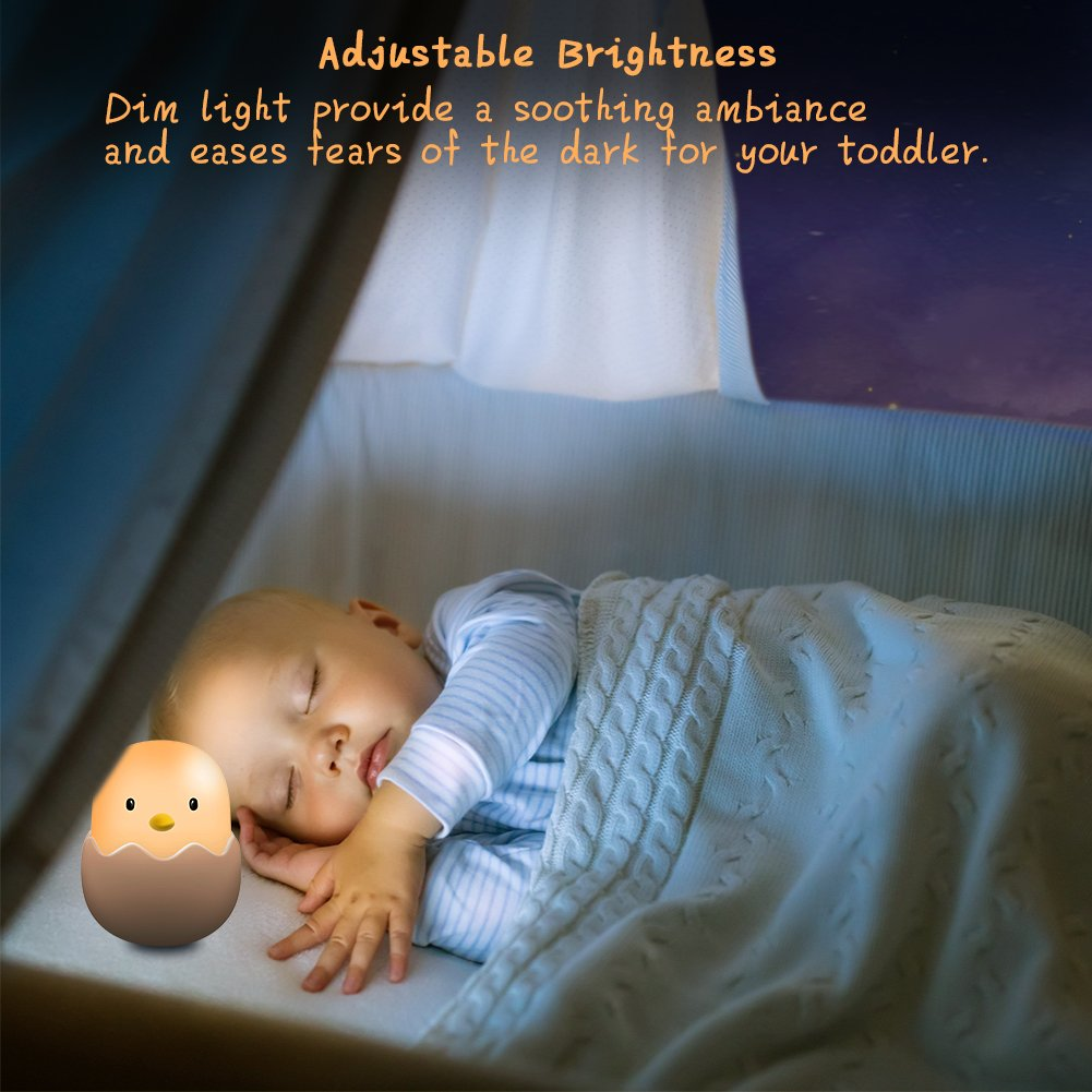 Safe ABS+Silicone ASHOW Baby Night Light with Touch Sensor Warm Light 200 Hours Runtime Rechargeable Kids LED Lamp with Adjustable Brightness for Baby Room Bedroom Baby-Feeding