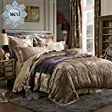 MKXI Luxury Duvet Cover Sateen European Gorgeous Paisley Jacquard Pattern Bedding Set for King Size Down Comforter