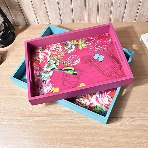 Decorative Carrying Serving Tray with Handles - Set of 2 - Ottoman Tray - Southern Chic Organization Style - Coffee Table Tray (Turquoise + Pink) (Colorful Coffee Tables)