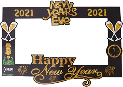Amazon.com: PRETYZOOM 2021 Happy New Year Selfie Props New Year Eve Party Photo Booth Props ...