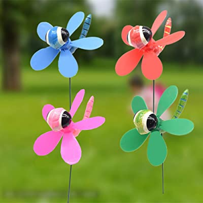 FENELY Dragonfly Garden Wind Spinners Pinwheels Whirlygigs Stakes Decorations Outdoor Lawn Decorative Yard Decor Patio Accessories Windmills Ornaments Plastic Gardening Art Christmas Whimsical Gifts: Garden & Outdoor