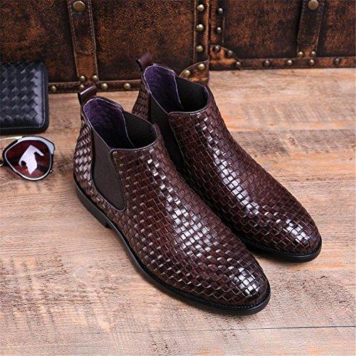 Cuero Martín Marrón 39 Tobillo 38 Botas Invierno Hombres Otoño Negocio Puntiagudo Real Alto Xie Brown Boda Negro Chelsea Ocio Tejeduría Zapatos gXFEWwq