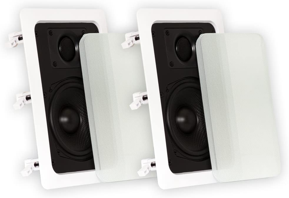 Theater Solutions TS50W in Wall Speakers Surround Sound Home Theater Pair, White, 5.25-Inch