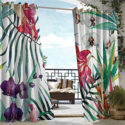 Indoor/Outdoor Single Panel print Window Curtain Watercolor Flower Decor,Tropical Wild Orchid Flowers With Palm Leaves Print Exotic Style Nature Artwork,Multi,W108