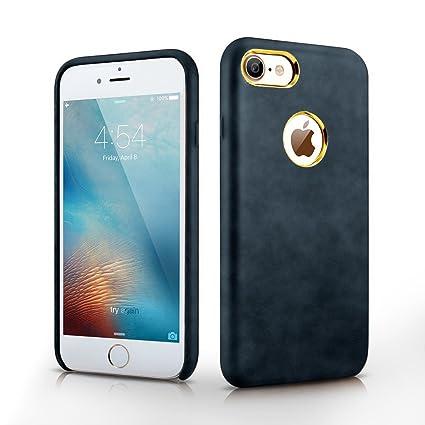 MTT Apple IPhone 8 7 Premium Leather Back Cover Case Blue