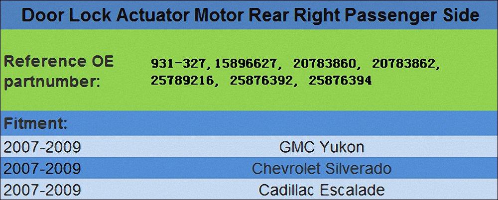 931-304 Door Lock Actuator Motor Front Right Passenger Side for 2008 2009 Cadillac Escalad Chevrolet Suburban Tahoe GMC Yukon Replace OE #20783852 25873485 25876388 2594575