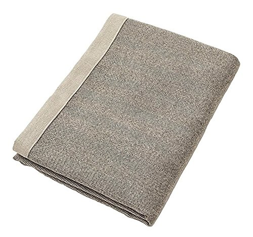McAlister Herringbone Extra Large Decorative Throw Blanket | 78x100 Semi-Plain Charcoal Gray | Plush Wool-Textured Flannel Tweed | Farmhouse Cabin Accent Décor