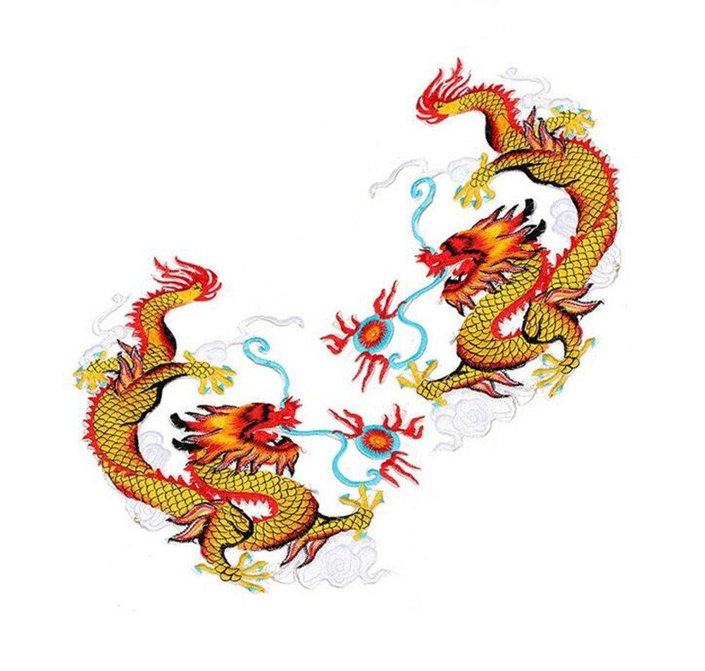 Ximkee, 1paio di toppe a forma di drago cinese dorato volante, da applicare con ferro da stiro Zhiheng