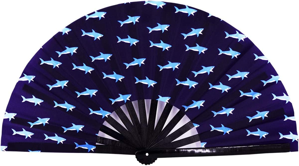 Amajiji Large Folding Hand Rave Fan Clack Fans for Women/Men, Chinease/Japanese Bamboo and Nylon-Cloth Hand held Folding Fan, Hand Fan Festival Fan Gift Fan Craft Fan Dance Fan (Shark)