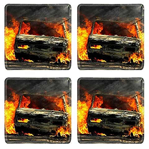 Luxlady Square Coaster Delivery type vehicle on side of road burning with large flames and smoke Car IMAGE 30781721 Customized Art Home (Exploding Smoke Bombs)